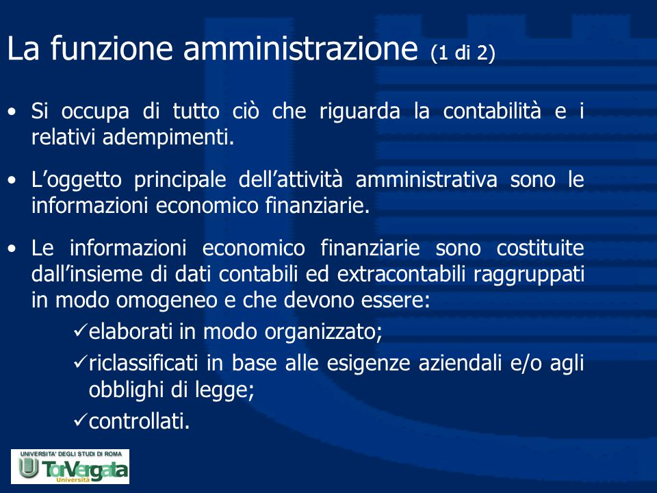 La funzione amministrazione (1 di 2)