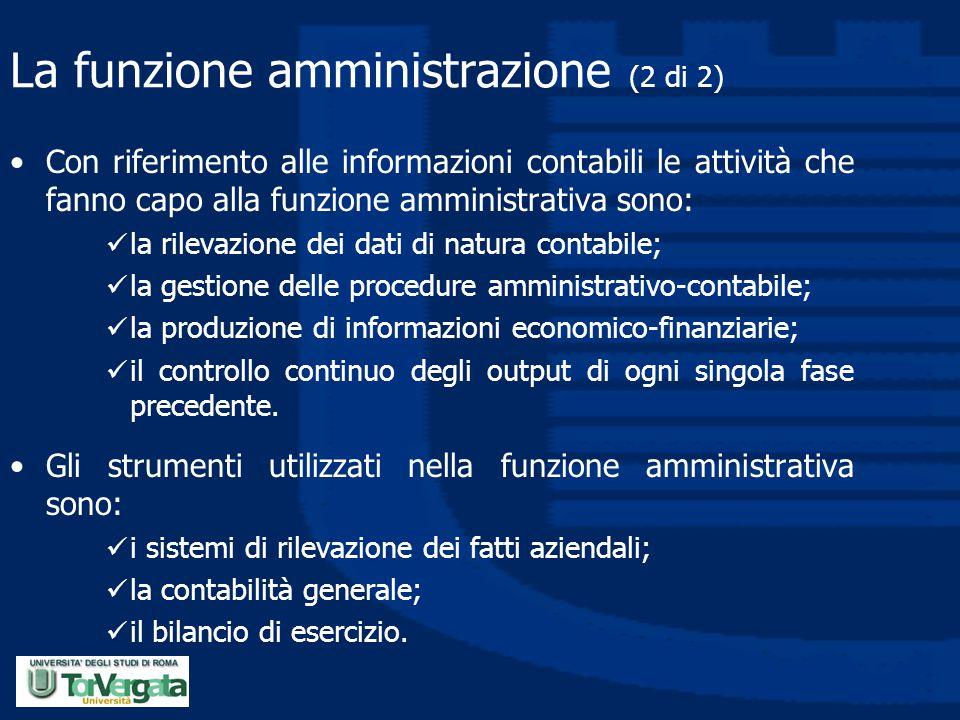 La funzione amministrazione (2 di 2)