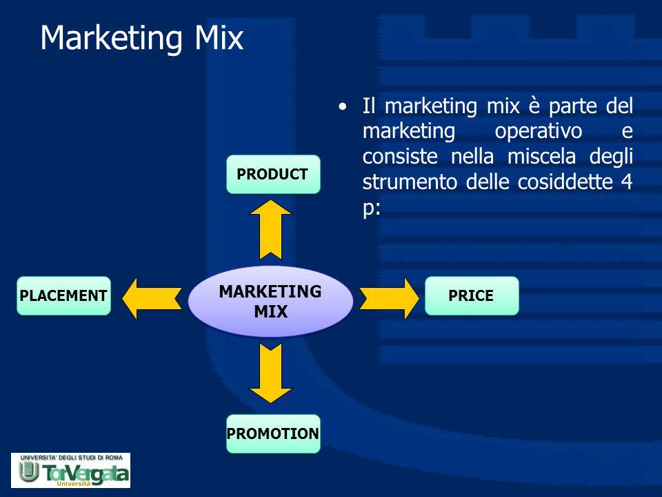 Marketing Mix Il marketing mix è parte del marketing operativo e consiste nella miscela degli strumento delle cosiddette 4 p: