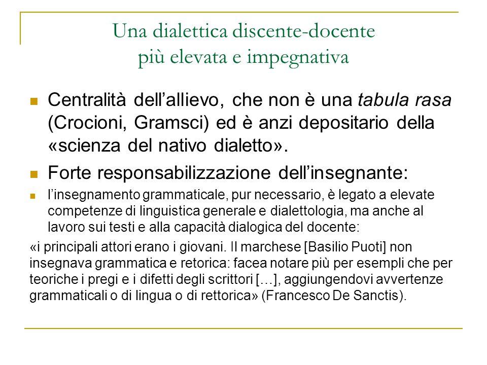 Una dialettica discente-docente più elevata e impegnativa