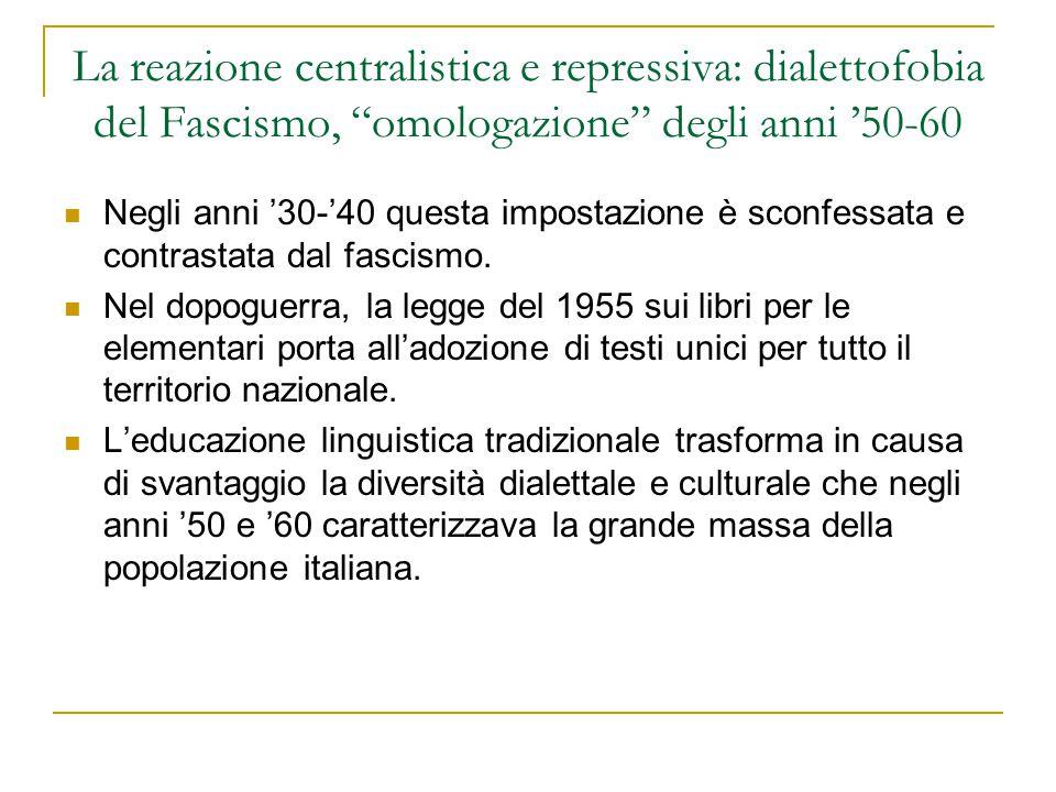 La reazione centralistica e repressiva: dialettofobia del Fascismo, omologazione degli anni '50-60
