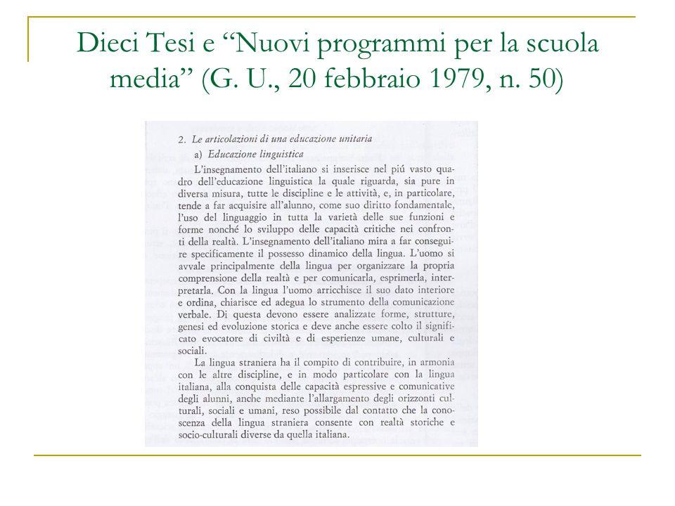 Dieci Tesi e Nuovi programmi per la scuola media (G. U