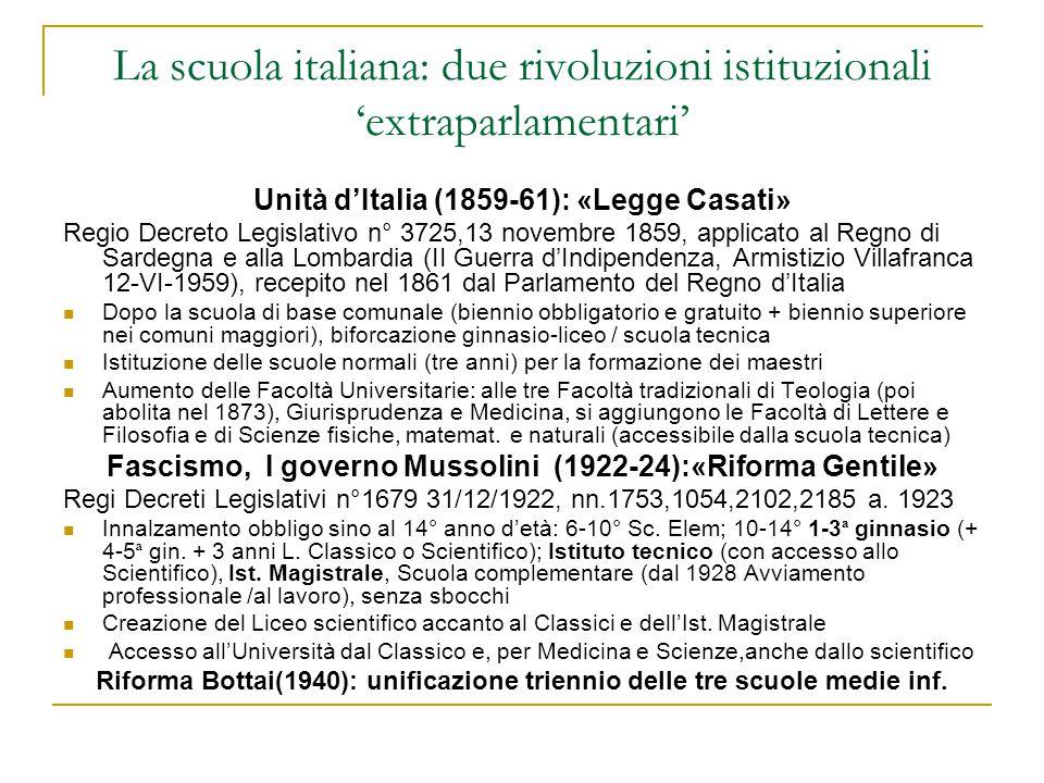 La scuola italiana: due rivoluzioni istituzionali 'extraparlamentari'