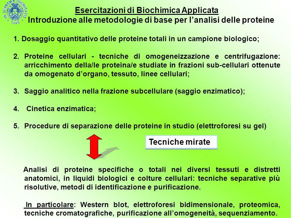 Esercitazioni di Biochimica Applicata
