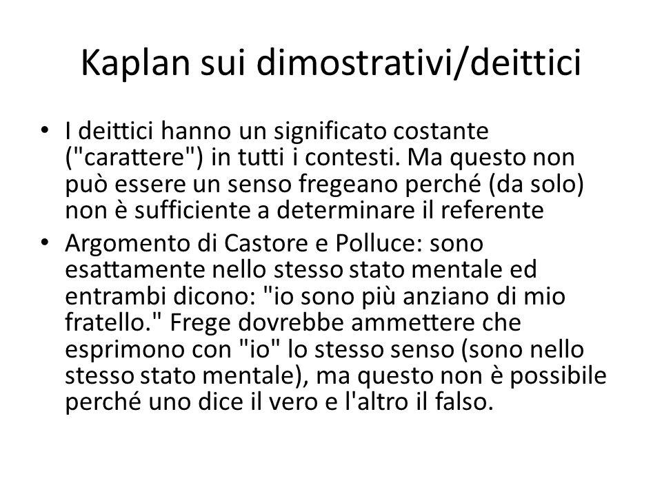 Kaplan sui dimostrativi/deittici