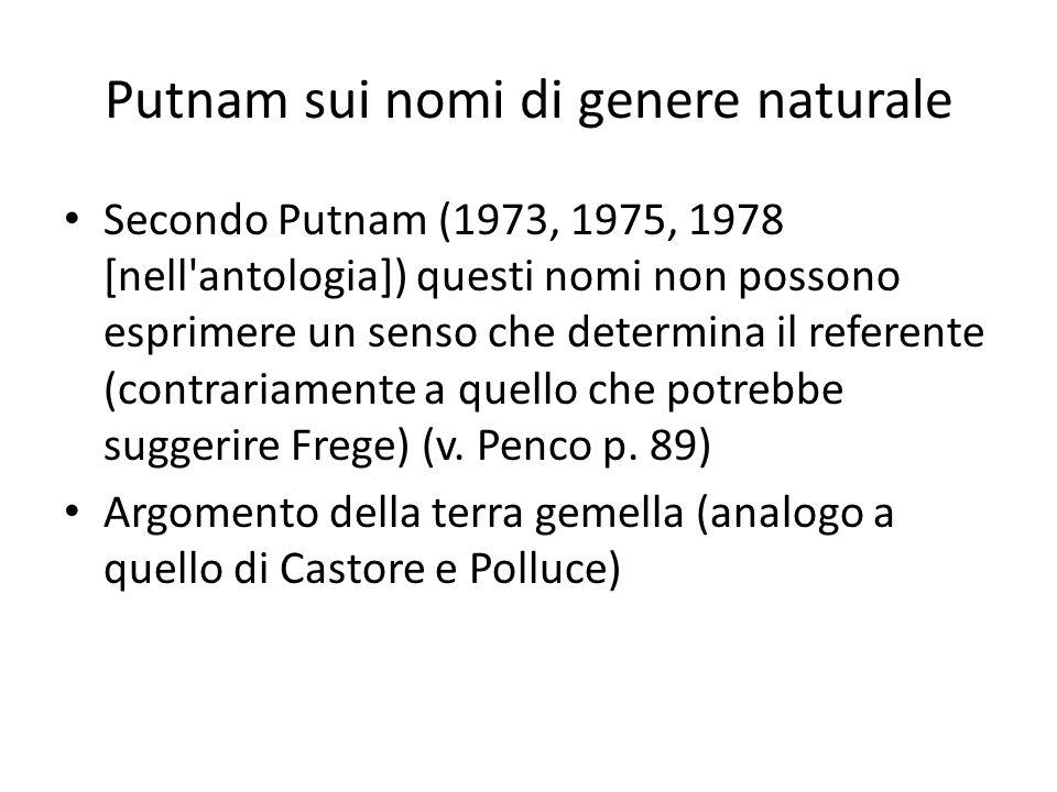 Putnam sui nomi di genere naturale