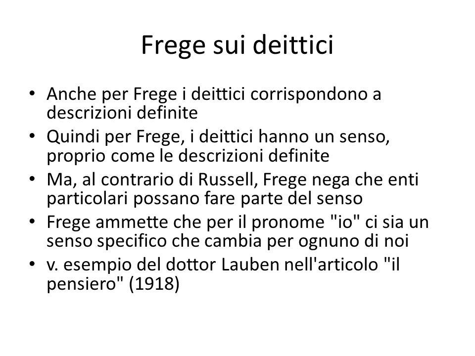 Frege sui deittici Anche per Frege i deittici corrispondono a descrizioni definite.