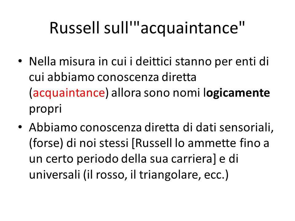 Russell sull acquaintance