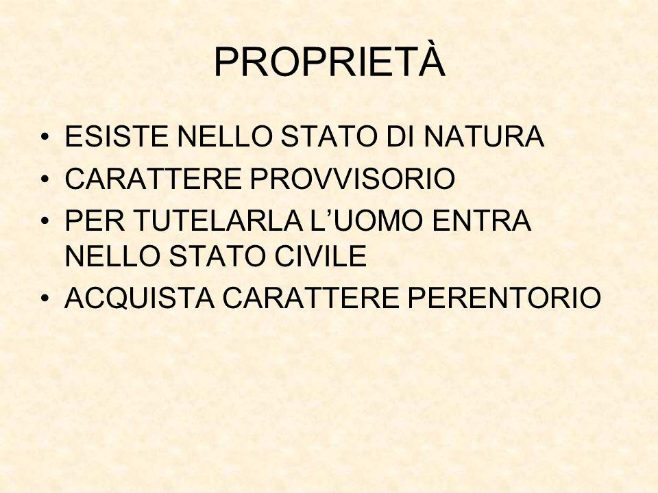 PROPRIETÀ ESISTE NELLO STATO DI NATURA CARATTERE PROVVISORIO