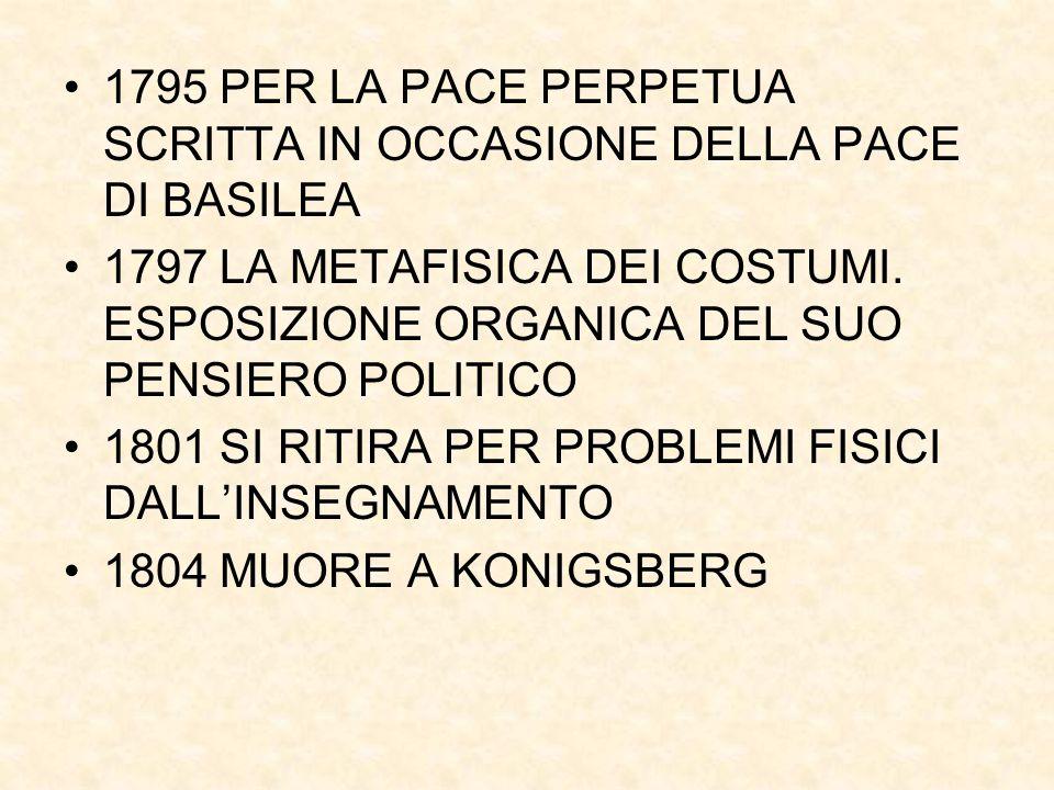 1795 PER LA PACE PERPETUA SCRITTA IN OCCASIONE DELLA PACE DI BASILEA