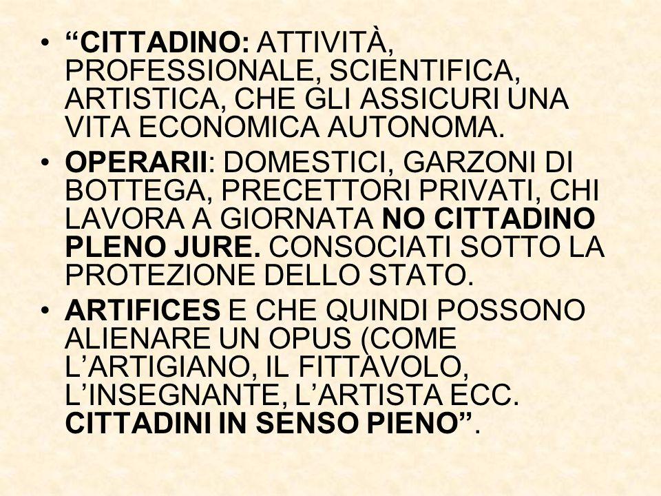 CITTADINO: ATTIVITÀ, PROFESSIONALE, SCIENTIFICA, ARTISTICA, CHE GLI ASSICURI UNA VITA ECONOMICA AUTONOMA.