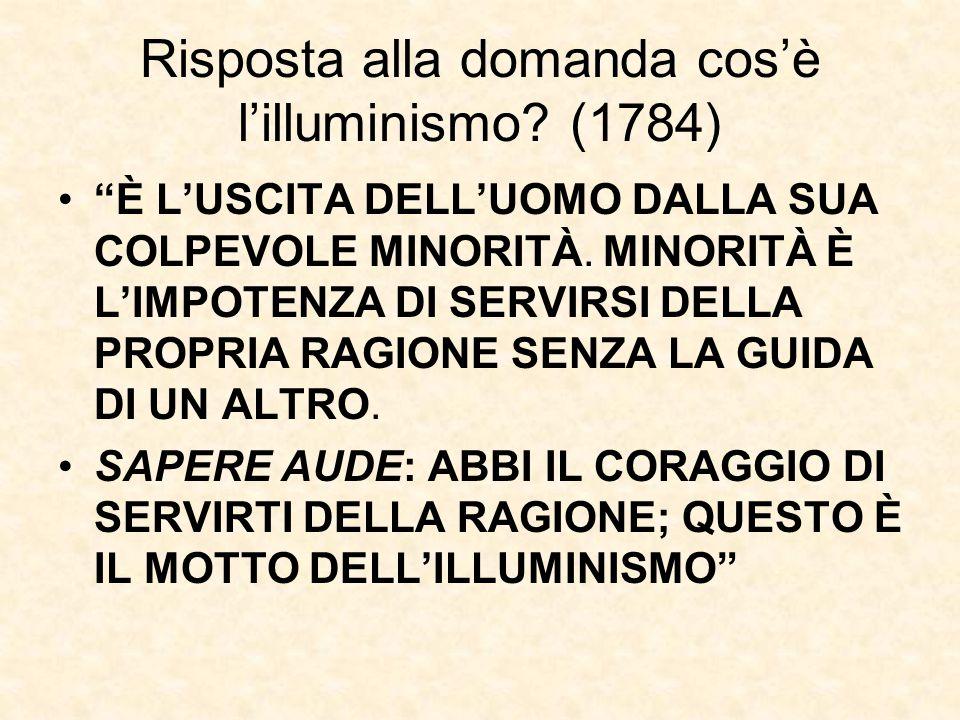 Risposta alla domanda cos'è l'illuminismo (1784)