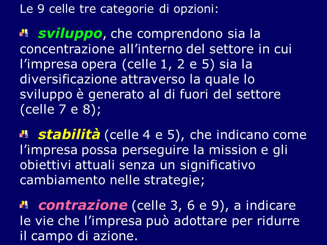 Le 9 celle tre categorie di opzioni:
