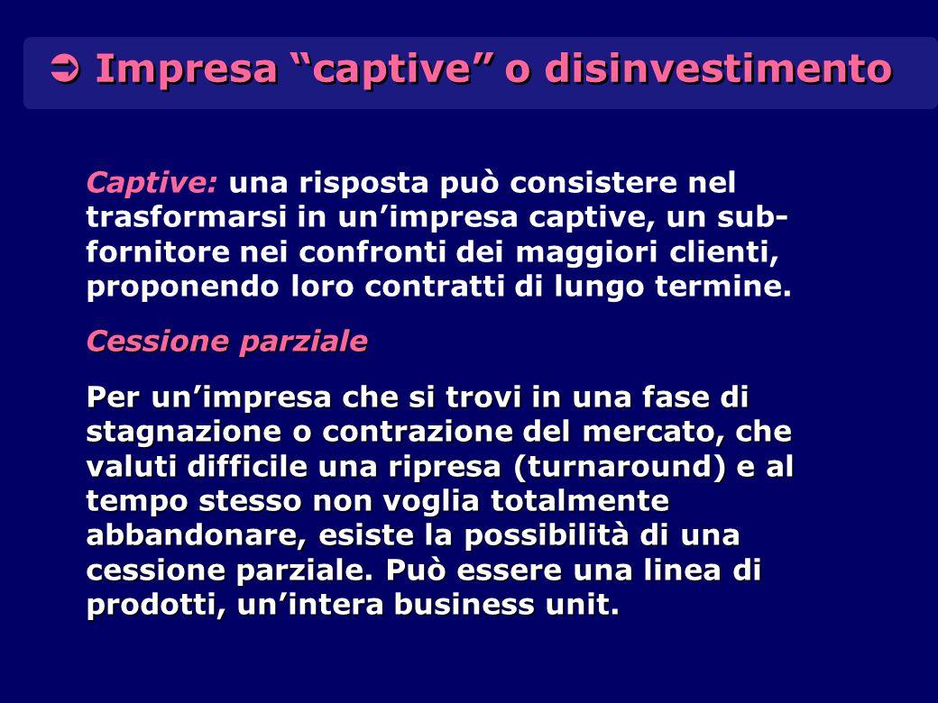  Impresa captive o disinvestimento