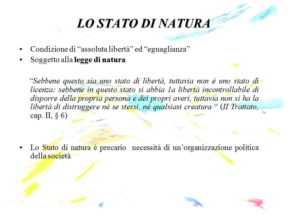 LO STATO DI NATURA Condizione di assoluta libertà ed eguaglianza