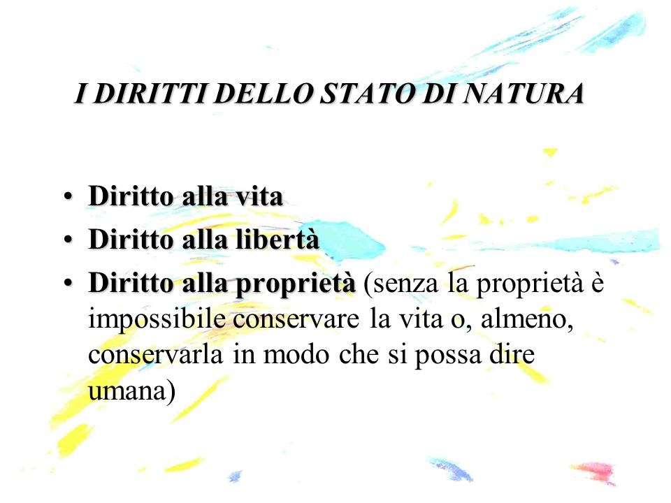 I DIRITTI DELLO STATO DI NATURA