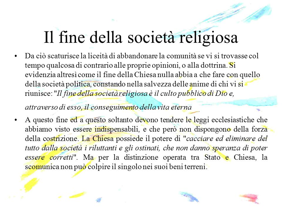 Il fine della società religiosa