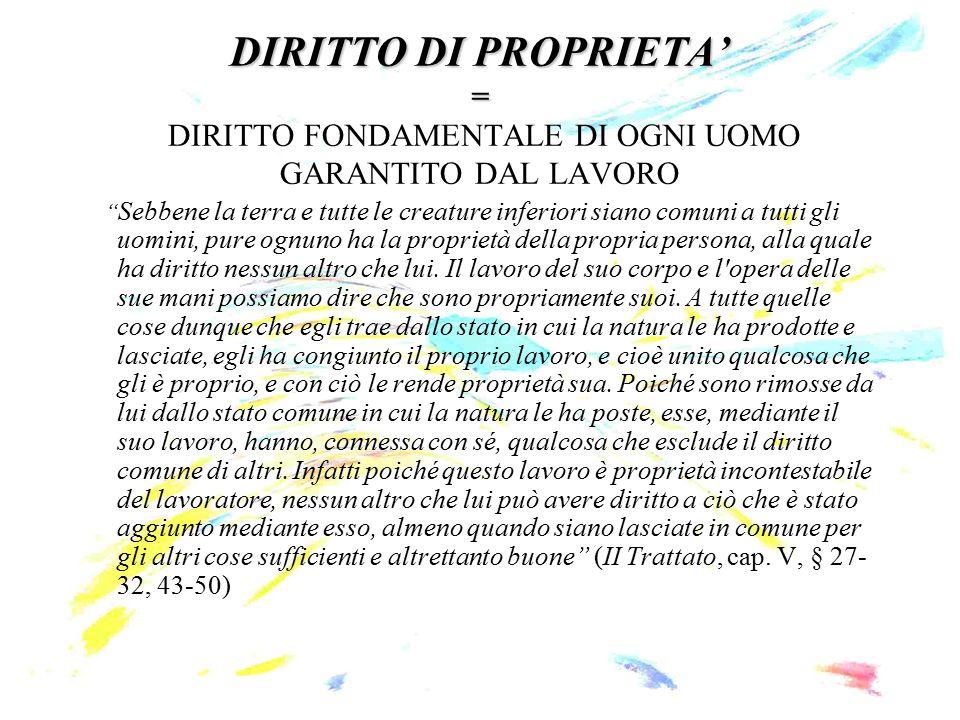 DIRITTO DI PROPRIETA' = DIRITTO FONDAMENTALE DI OGNI UOMO GARANTITO DAL LAVORO