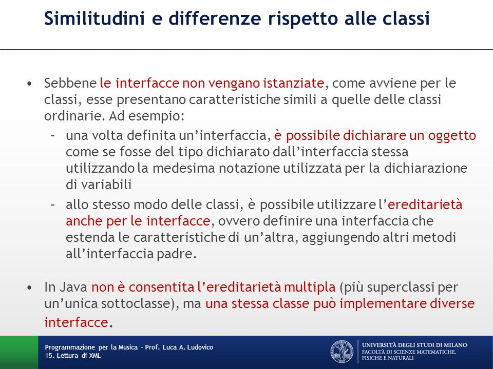 Similitudini e differenze rispetto alle classi