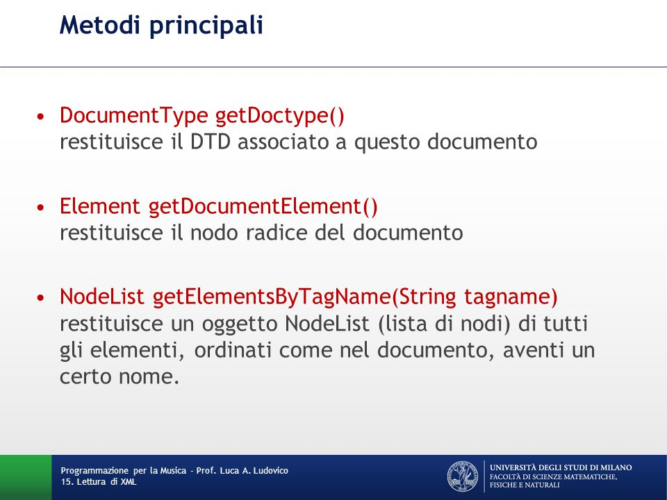 Metodi principali DocumentType getDoctype() restituisce il DTD associato a questo documento.