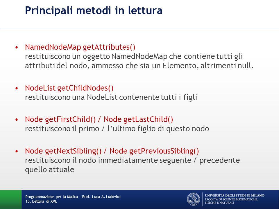 Principali metodi in lettura