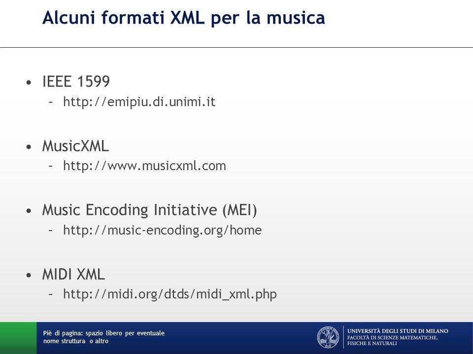Alcuni formati XML per la musica