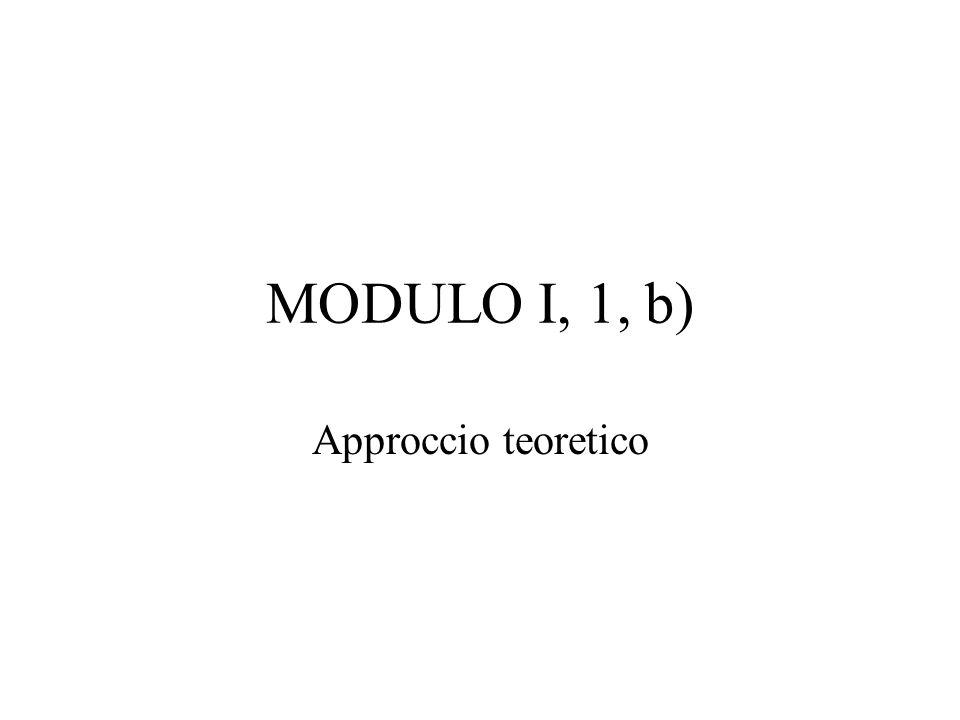 MODULO I, 1, b) Approccio teoretico