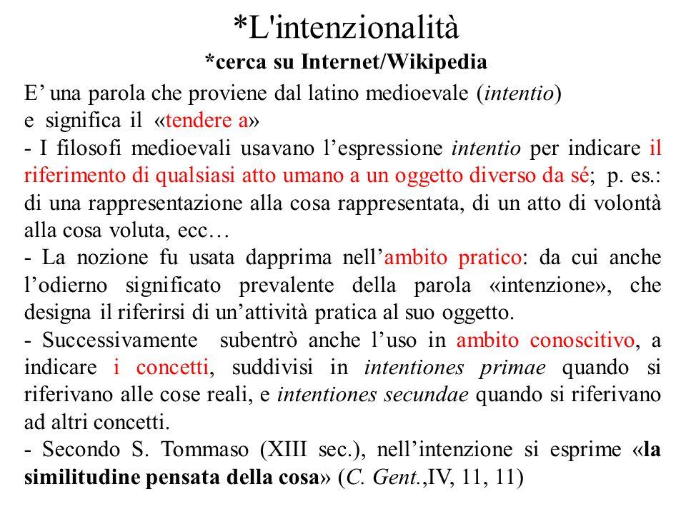 *L intenzionalità *cerca su Internet/Wikipedia
