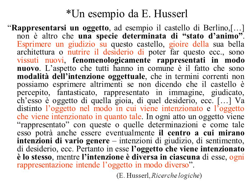 *Un esempio da E. Husserl