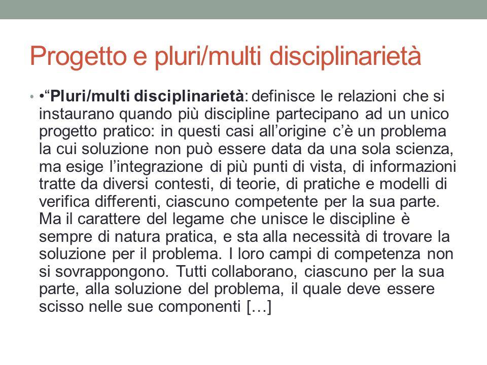 Progetto e pluri/multi disciplinarietà