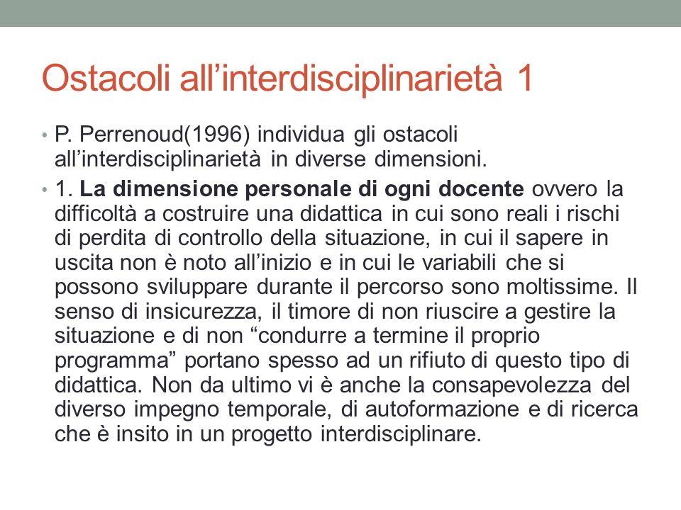 Ostacoli all'interdisciplinarietà 1