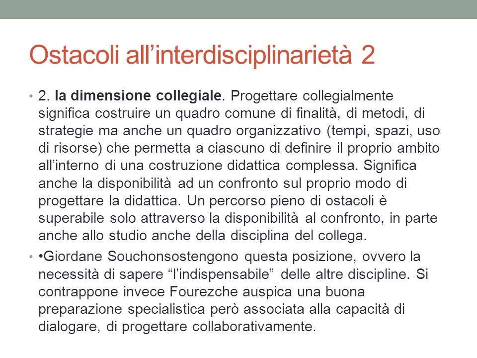Ostacoli all'interdisciplinarietà 2