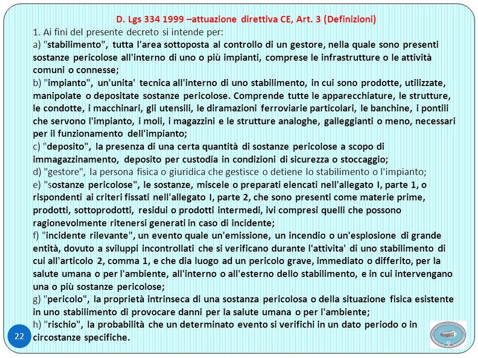 D. Lgs 334 1999 –attuazione direttiva CE, Art. 3 (Definizioni)