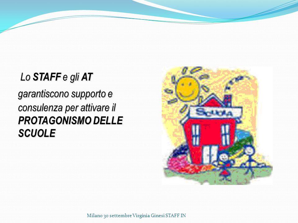 Lo STAFF e gli AT garantiscono supporto e consulenza per attivare il PROTAGONISMO DELLE SCUOLE.