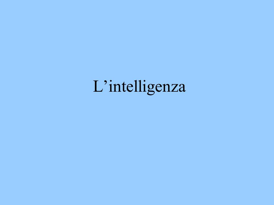 L'intelligenza