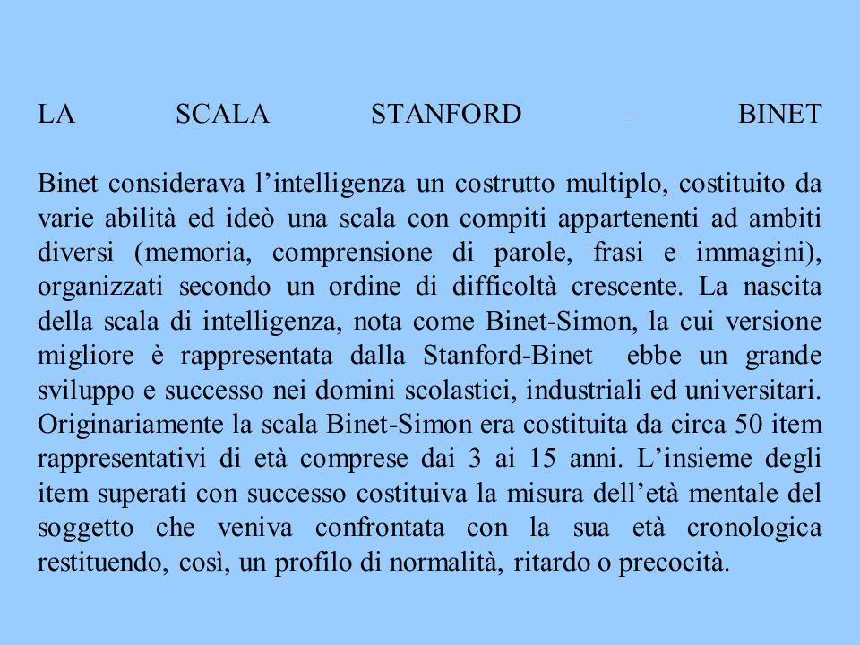 LA SCALA STANFORD – BINET Binet considerava l'intelligenza un costrutto multiplo, costituito da varie abilità ed ideò una scala con compiti appartenenti ad ambiti diversi (memoria, comprensione di parole, frasi e immagini), organizzati secondo un ordine di difficoltà crescente.
