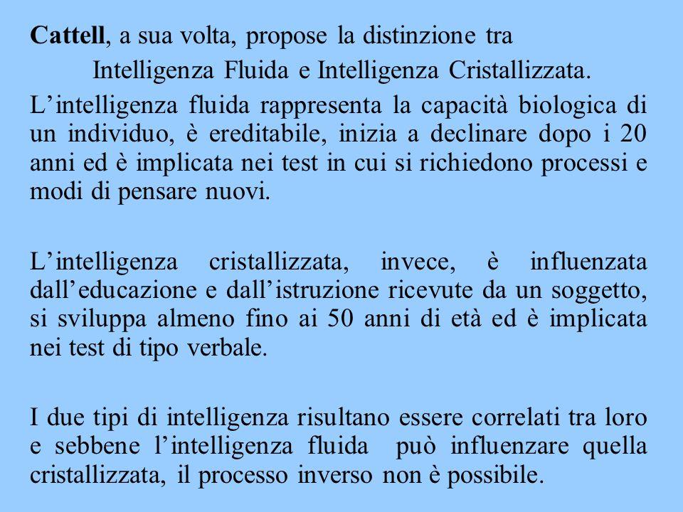 Intelligenza Fluida e Intelligenza Cristallizzata.