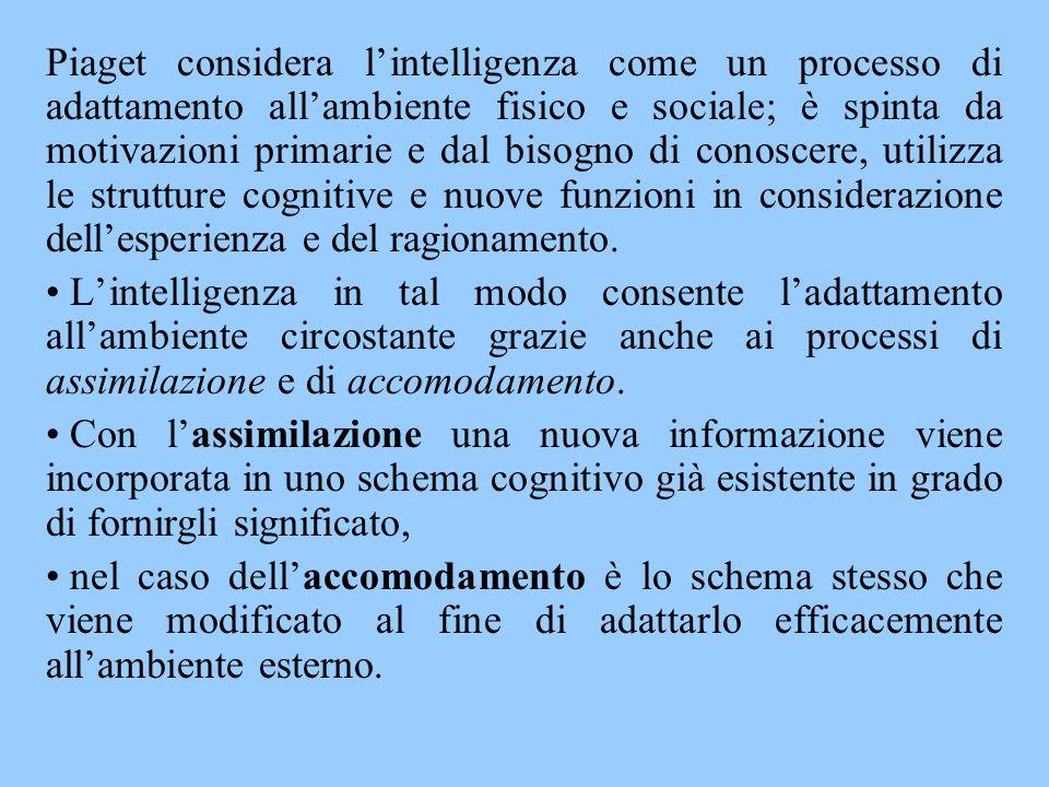 Piaget considera l'intelligenza come un processo di adattamento all'ambiente fisico e sociale; è spinta da motivazioni primarie e dal bisogno di conoscere, utilizza le strutture cognitive e nuove funzioni in considerazione dell'esperienza e del ragionamento.