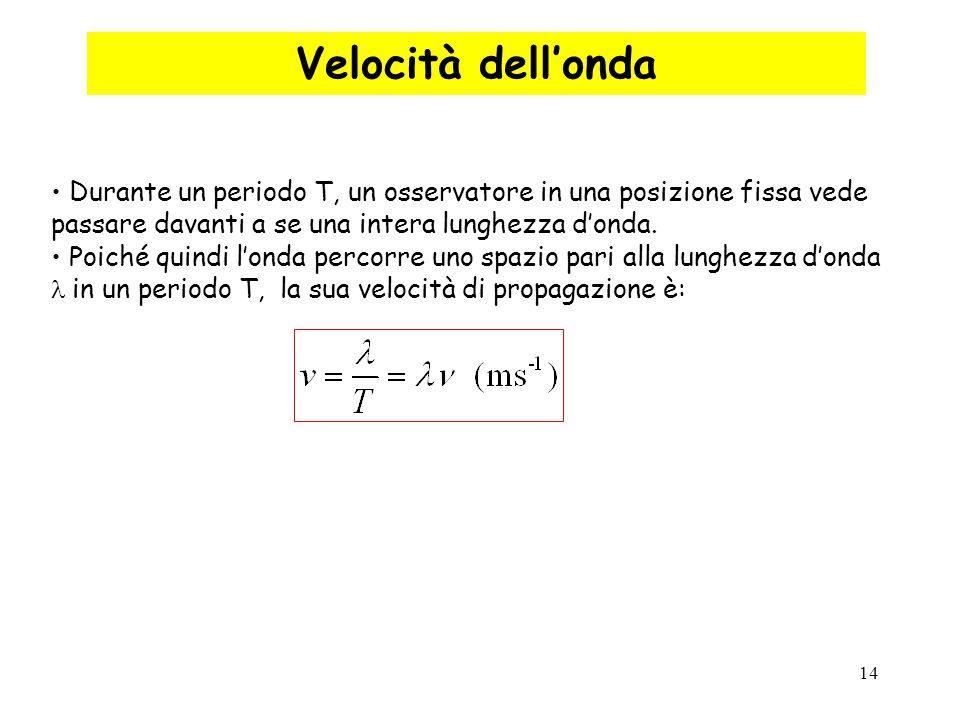 Velocità dell'onda Durante un periodo T, un osservatore in una posizione fissa vede passare davanti a se una intera lunghezza d'onda.