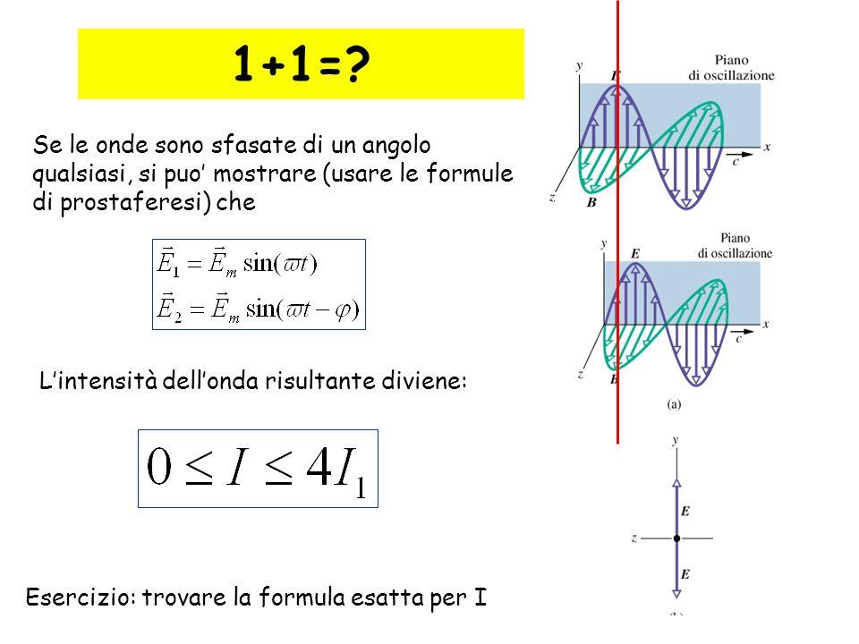 1+1= Se le onde sono sfasate di un angolo qualsiasi, si puo' mostrare (usare le formule di prostaferesi) che.