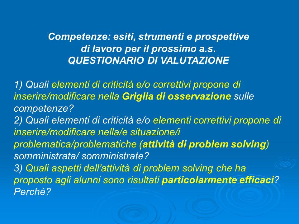 Competenze: esiti, strumenti e prospettive