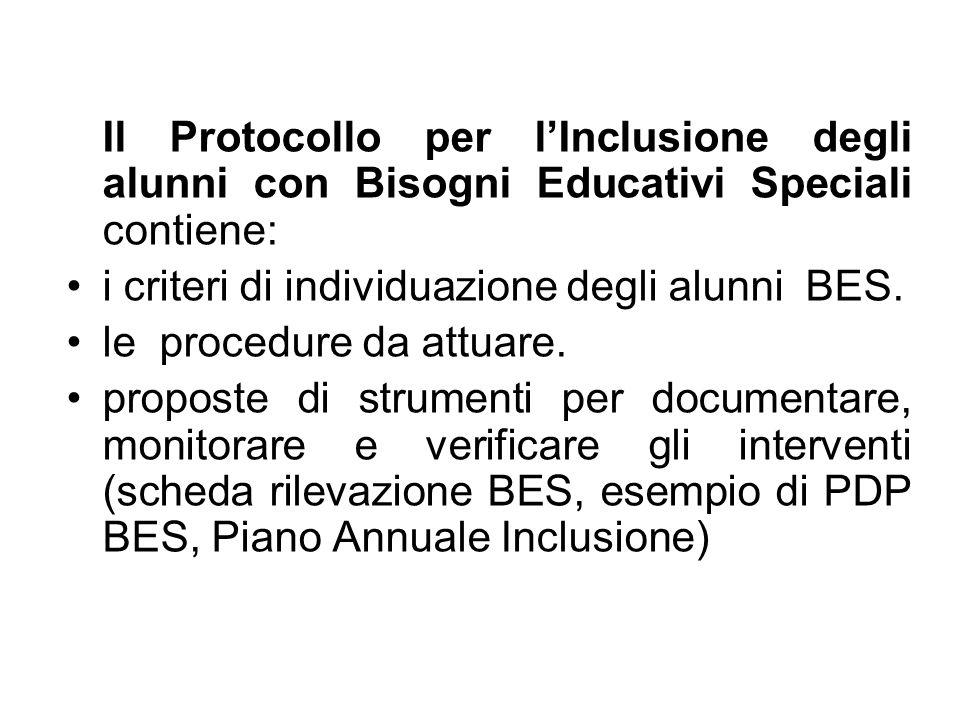 Il Protocollo per l'Inclusione degli alunni con Bisogni Educativi Speciali contiene:
