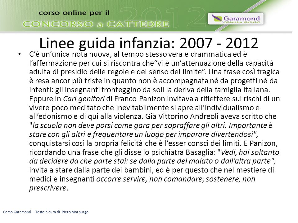 Linee guida infanzia: 2007 - 2012