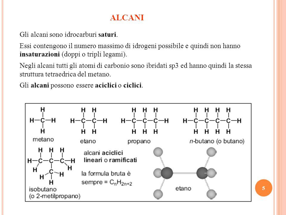 ALCANI Gli alcani sono idrocarburi saturi.