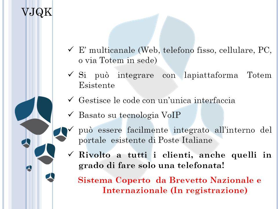 VJQK E' multicanale (Web, telefono fisso, cellulare, PC, o via Totem in sede) Si può integrare con lapiattaforma Totem Esistente.