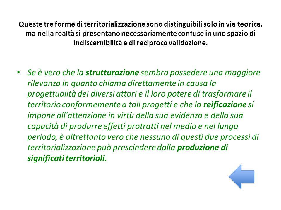 Queste tre forme di territorializzazione sono distinguibili solo in via teorica, ma nella realtà si presentano necessariamente confuse in uno spazio di indiscernibilità e di reciproca validazione.