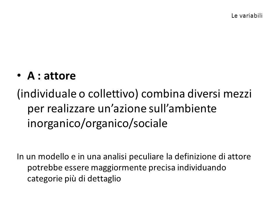 Le variabili A : attore. (individuale o collettivo) combina diversi mezzi per realizzare un'azione sull'ambiente inorganico/organico/sociale.
