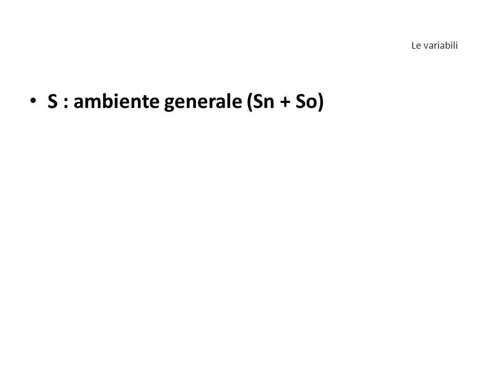 S : ambiente generale (Sn + So)