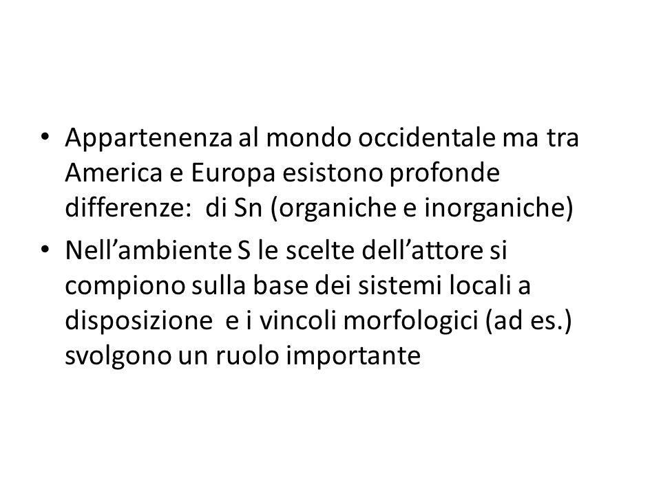 Appartenenza al mondo occidentale ma tra America e Europa esistono profonde differenze: di Sn (organiche e inorganiche)