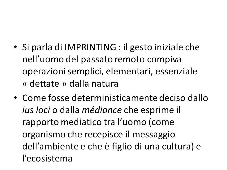Si parla di IMPRINTING : il gesto iniziale che nell'uomo del passato remoto compiva operazioni semplici, elementari, essenziale « dettate » dalla natura